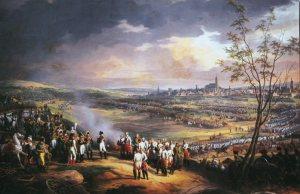 """""""Reddition de la ville d'Ulm, le 20 octobre 1805, Napoléon Ier recevant la capitulation du général Mack"""" by French painter Charles Thévenin."""