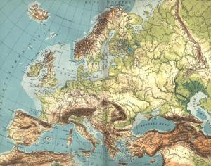 Carte géographique de l'Europe. Scan de Diercke Schul-Atlas für Höhere Lehranstalten de 1907 par Yann.