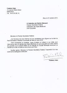 Lettre de candidature aux Municipales 2014