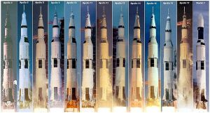 This is a picture of All Saturn V Launches. Author Maldoror. 2 December 2005.