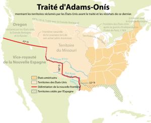 Modifications de frontières après le traité d'Adams-Onís de 1819.