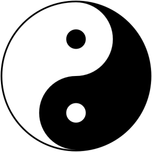 Le tàijí tú : symbole de la dualité yīn-yáng. This is the Yin-yang symbol or Taijitu (太極圖), with black representing yin and white representing yang. It is a symbol that reflects the inescapably intertwined duality of all things in nature, a common theme in Taoism. No quality is independent of its opposite, nor so pure that it does not contain its opposite in a diminished form: these concepts are depicted by the vague division between black and white, the flowing boundary between the two, and the smaller circles within the large regions. Author Gregory Maxwell.