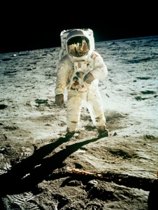 FILE - In this July 20, 1969 file photo from NASA,  Astronaut Edwin E. Aldrin Jr., lunar module pilot, is photographed walking near the lunar module during the Apollo 11 extravehicular activity. (AP Photo, NASA ,file)