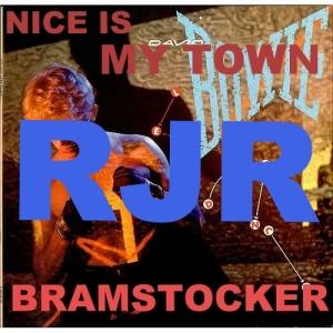 RJR : le sigle du Rassemblement des Jeunes Républicains pour la couverture provisoire de la chanson de BRAMSTOCKER, Nice Is My Town avec en toile de fond l'album de David Bowie, Let's Dance.