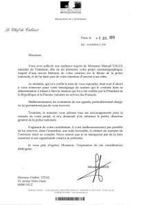 Lettre de Manuel Valls