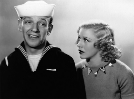 Ginger Rogers and Fred Astaire. Picture from motion picture FOLLOW THE FLEET. RKO Radio Pictures, 1936. Directed by Mark Sandrich. Camera: David Abel. With Ginger Rogers, Fred Astaire, Randolph Scott, Harriet Hilliard, Astrid Allwyn, Betty Grable.