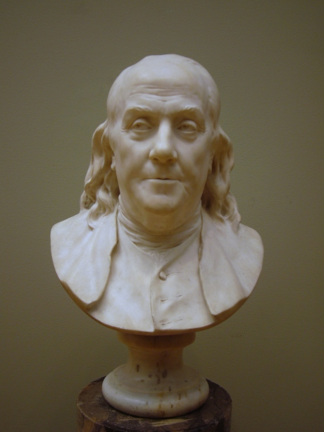 Jean-Antoine Houdon: Benjamin Franklin. Marble bust, 1778. H. without base 17 1/2 in. (44.5 cm). More information by the Metropolitan Museum of Arts.